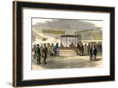 Miners Bringing their Gold Dust to Cook's Bank, Denver, Colorado, 1860s--Framed Giclee Print