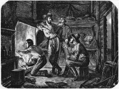 Miners in the Californian Gold Fields Relaxing in their Log Cabin at Night, 1853--Giclee Print