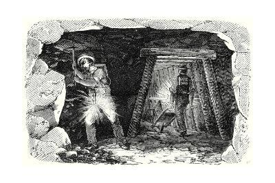 Miners' Lamp. Miners at Work--Giclee Print