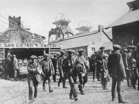 'Miners leaving the pithead after the expiration of their strike notices', 1915-Unknown-Photographic Print