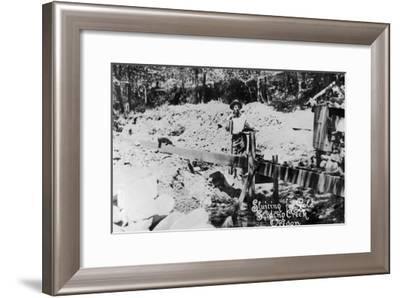 Miners Sluicing For Gold - Sardino Creek, OR-Lantern Press-Framed Art Print