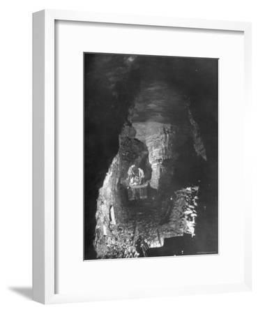 Miners Working a Rich Vein in Tunnel of the Powderly Anthracite Coal Mine, Owned by Hudson Coal Co-Margaret Bourke-White-Framed Premium Photographic Print