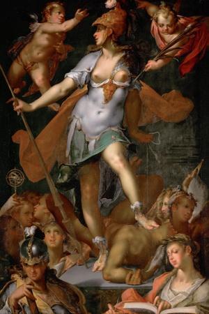 Minerva Victorious over Ignorance, Ca 1591-Bartholomeus Spranger-Stretched Canvas Print