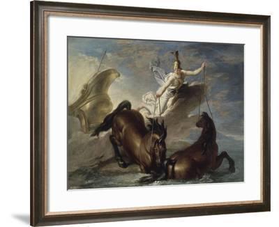 Minerve abreuve ses chevaux dans l'océan au retour d'un combat-René Antoine Houasse-Framed Giclee Print