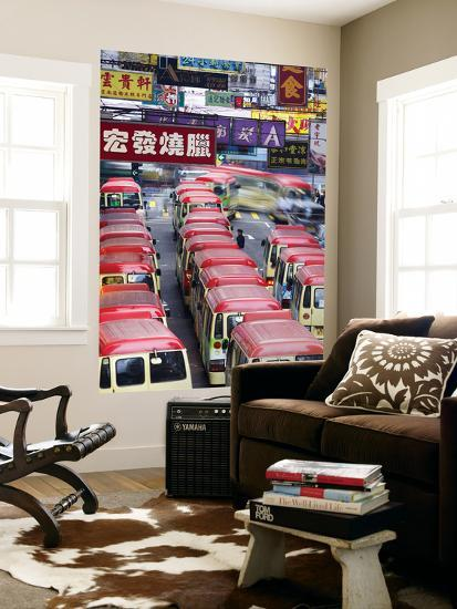 Mini-Buses Parked on Fa Yuen Street, Mong Kok, Kowloon, Hong Kong, China-Ian Trower-Wall Mural