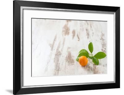 Mini-Orange with Foliage on White Wooden Table-Jana Ihle-Framed Photographic Print