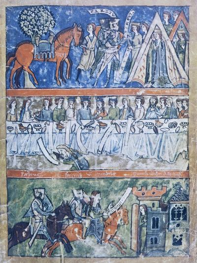 Miniature Depicting Three Scenes of a Knight's Life from Perceval or the Story of the Grail--Giclee Print