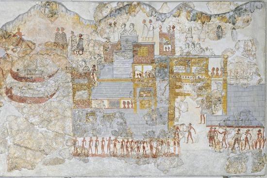 Miniature Fresco Depicting a Naval Fleet Leaving Dock, from the West House of Thera or Santorini--Giclee Print