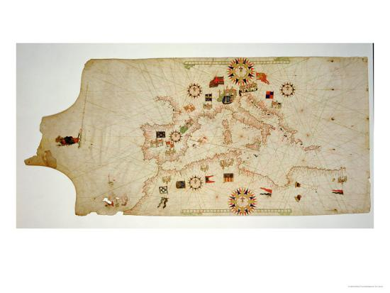 Miniature Nautical Map of the Central Mediterranean, 1560-Matteo Prunes-Giclee Print