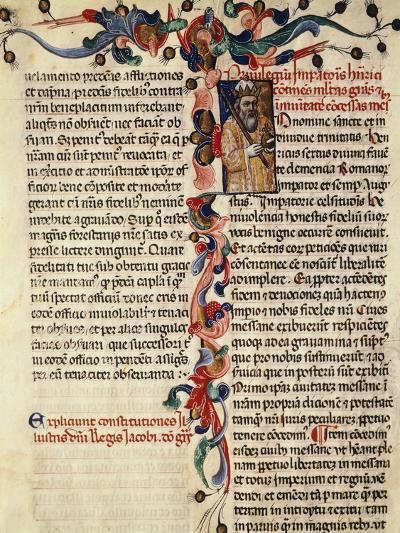 Miniature of Privileges Bestowed by the King on the City Palermo, Manuscript, 14th-15th Century--Giclee Print