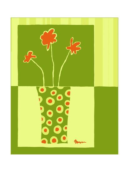 Minimalist Flowers in Green I- Goldberger & Archie-Art Print