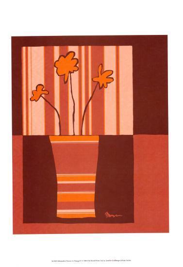 Minimalist Flowers in Orange IV-Jennifer Goldberger-Art Print
