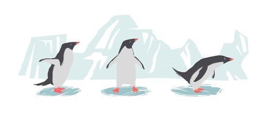 Minimalist Penguin Trio, Boys-Color Me Happy-Art Print