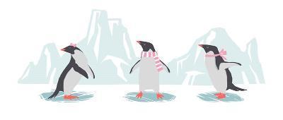 Minimalist Penguin Trio, Girls-Color Me Happy-Art Print