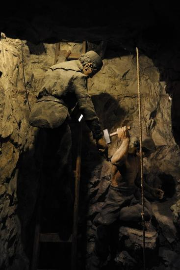 Mining, Shaft Sinking by Hand with Hammer and Wedge, Diorama--Giclee Print