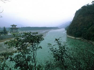 Minjiang River Flows Past Temple Near Chengdu, China-O^ Louis Mazzatenta-Photographic Print