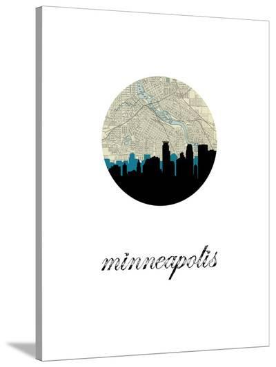 Minneapolis Map Skyline-Paperfinch 0-Stretched Canvas Print
