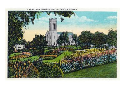 Minneapolis, Minnesota - Exterior View of St. Mark's Church from the Armory Gardens-Lantern Press-Art Print