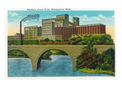 Minneapolis, Minnesota - Exterior View of the Pillsbury Flour Mills-Lantern Press-Art Print