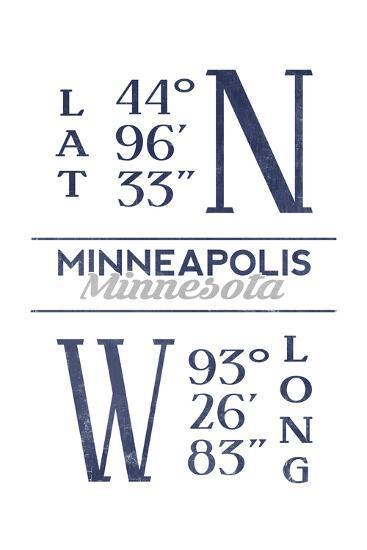 Minneapolis, Minnesota - Latitude and Longitude (Blue)-Lantern Press-Art Print