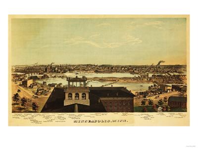 Minneapolis, Minnesota - Panoramic Map-Lantern Press-Art Print