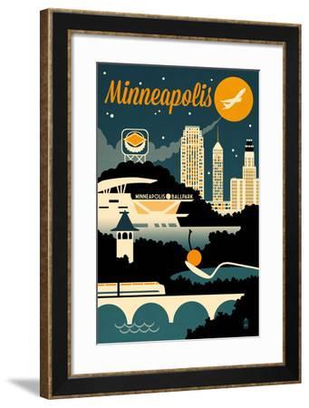 Minneapolis, Minnesota - Retro Skyline-Lantern Press-Framed Art Print