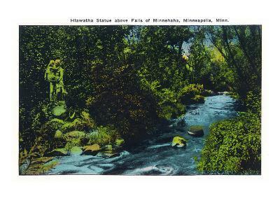 Minneapolis, Minnesota - View of the Hiawatha Statue Above Falls of Minnehaha-Lantern Press-Art Print