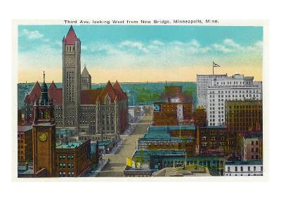 Minneapolis, Minnesota - Western View from New Bridge of Third Avenue-Lantern Press-Art Print