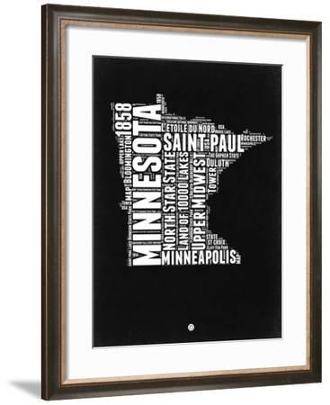 Minnesota Black and White Map-NaxArt-Framed Art Print