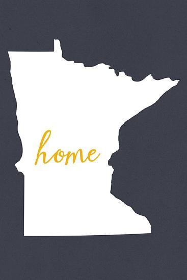 Minnesota - Home State - White on Gray-Lantern Press-Art Print
