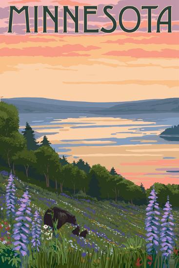 Minnesota - Lake and Bear Family-Lantern Press-Art Print