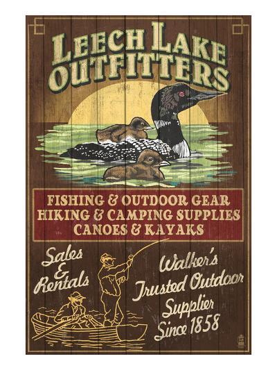 Minnesota - Leech Lake Outfitters Loon-Lantern Press-Art Print