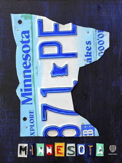 Minnesota License Plate Map-Design Turnpike-Giclee Print