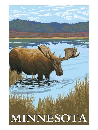 Minnesota - Moose and Lake-Lantern Press-Art Print
