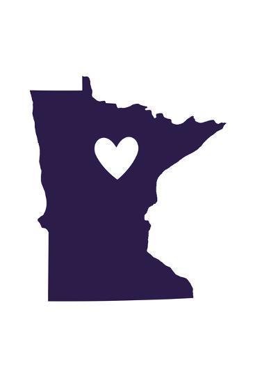 Minnesota - State Outline and Heart-Lantern Press-Art Print