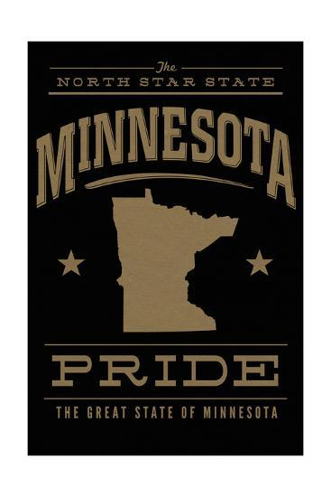 Minnesota State Pride - Gold on Black-Lantern Press-Art Print
