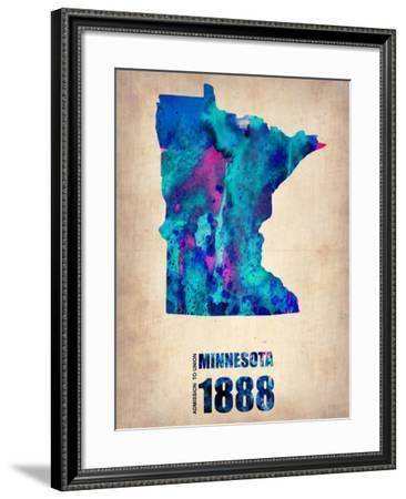 Minnesota Watercolor Map-NaxArt-Framed Art Print