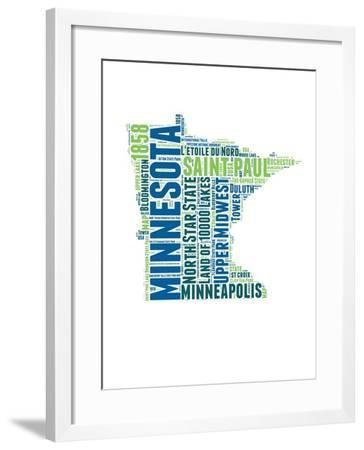 Minnesota Word Cloud Map-NaxArt-Framed Art Print