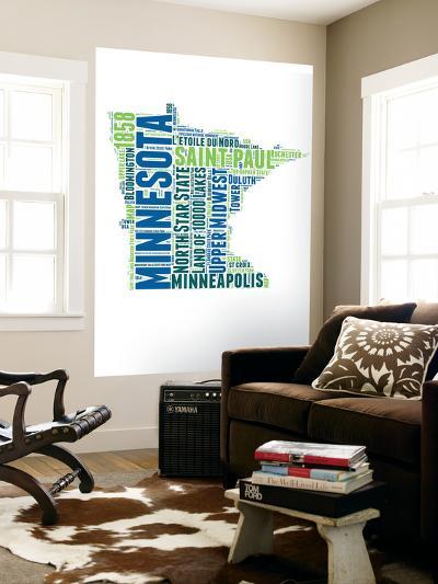 Minnesota Word Cloud Map-NaxArt-Wall Mural