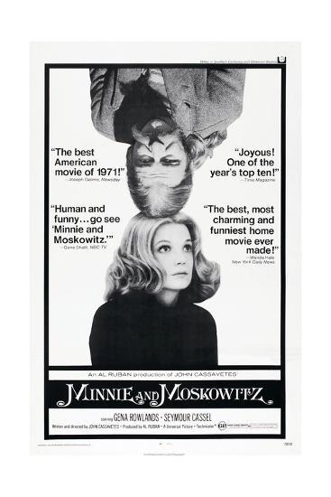 MINNIE AND MOSKOWITZ, US poster, from top: Seymour Cassel, Gena Rowlands,  1971 Art Print by   Art com