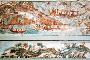 Minoan Art. Cyclades Islands. Naval Expedition. Fresco