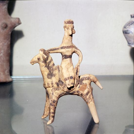 Minoan Clay Figurine Horse and Rider (Goddess), Terracotta, Arkhanes, Crete, c1400BC-c1100 BC-Unknown-Giclee Print