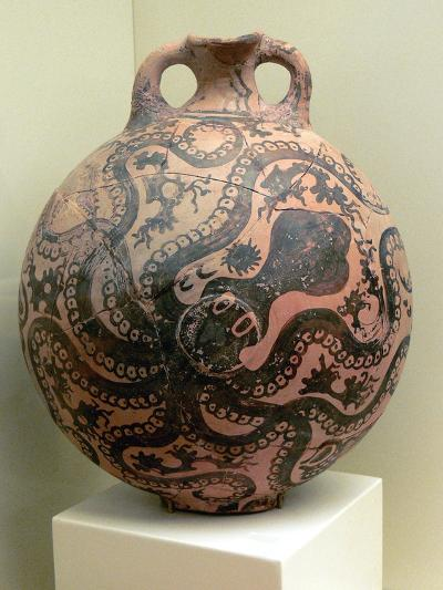 Minoan Clay Flask Decorated with Octopus--Photographic Print