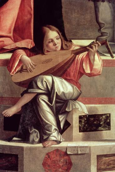 Minstrel Angel Playing a Lute, Detail from the Presentation of Jesus in the Temple, 1510 (Detail)-Vittore Carpaccio-Giclee Print