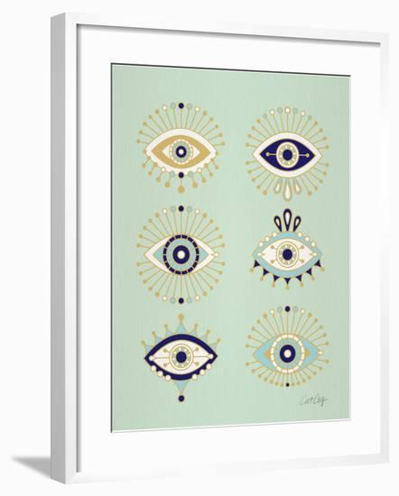 Mint Evil Eyes-Cat Coquillette-Framed Giclee Print