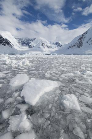 Ice at the Base of a Glacier in Wilhelmina Bay, Antarctica.