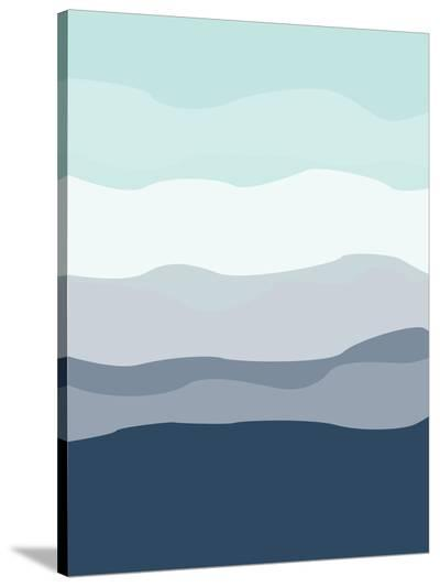 Mint Navy Abstract-Jetty Printables-Stretched Canvas Print