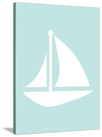 Mint Sailboat-Jetty Printables-Stretched Canvas Print