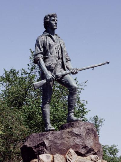 Minute Man Statue on Lexington Battle Green, the Site of the First Battle in the Revolutionary War--Photo