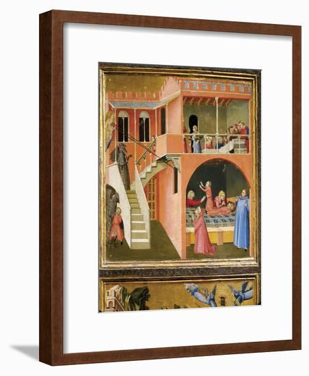 Miracle of St. Nicholas Reviving Boy Posed by Demon-Ambrogio Lorenzetti-Framed Giclee Print